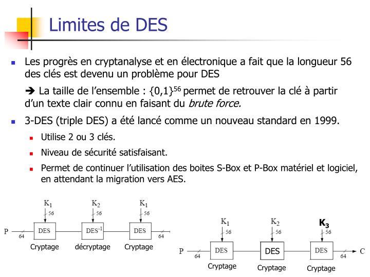 Limites de DES
