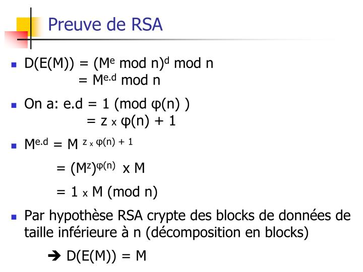 Preuve de RSA