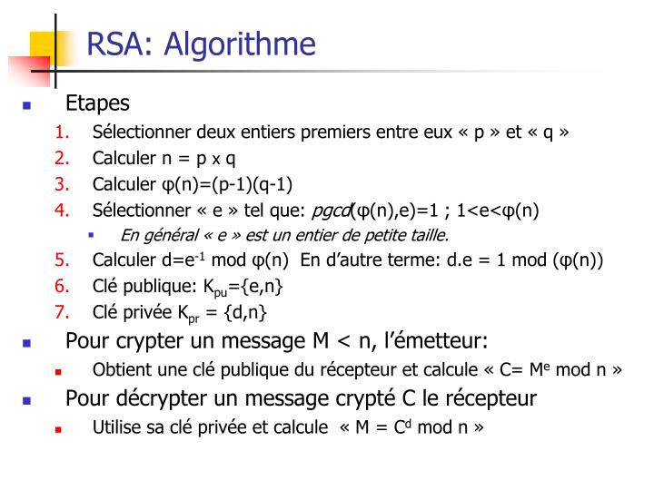RSA: Algorithme