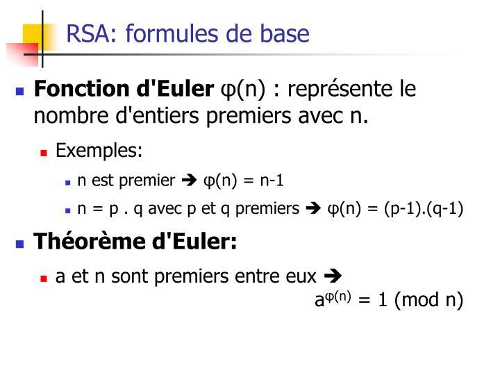 RSA: formules de base