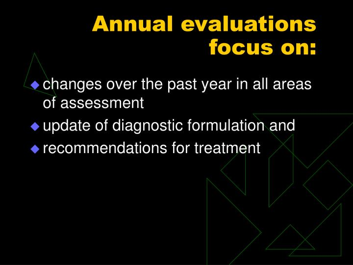 Annual evaluations focus on: