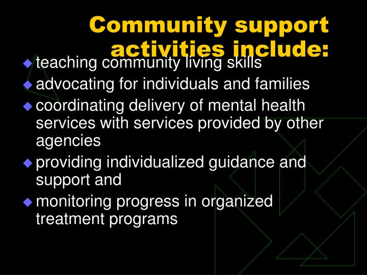 Community support activities include: