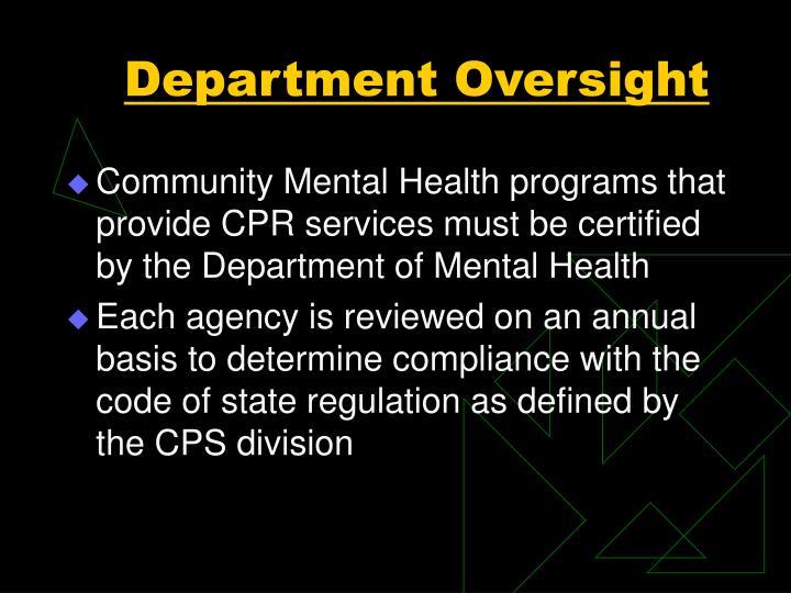 Department Oversight