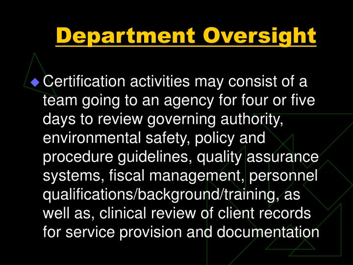 Department Oversight