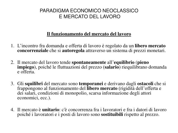 PARADIGMA ECONOMICO NEOCLASSICO