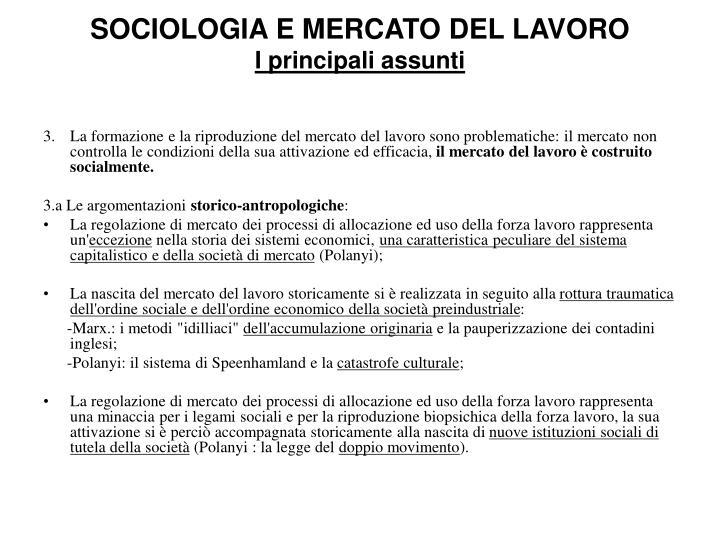 SOCIOLOGIA E MERCATO DEL LAVORO