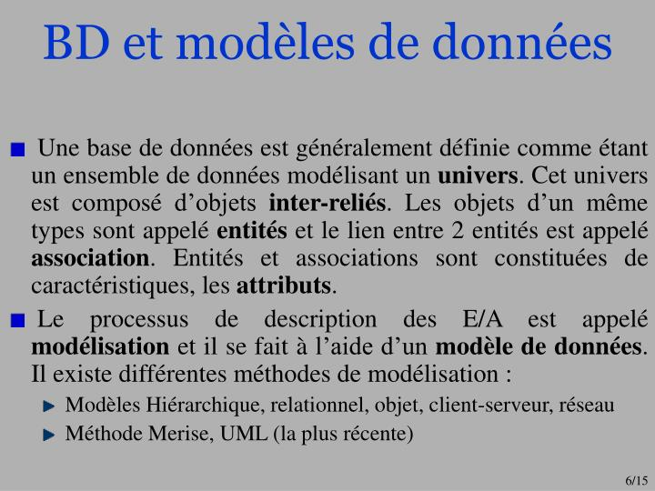 BD et modèles de données