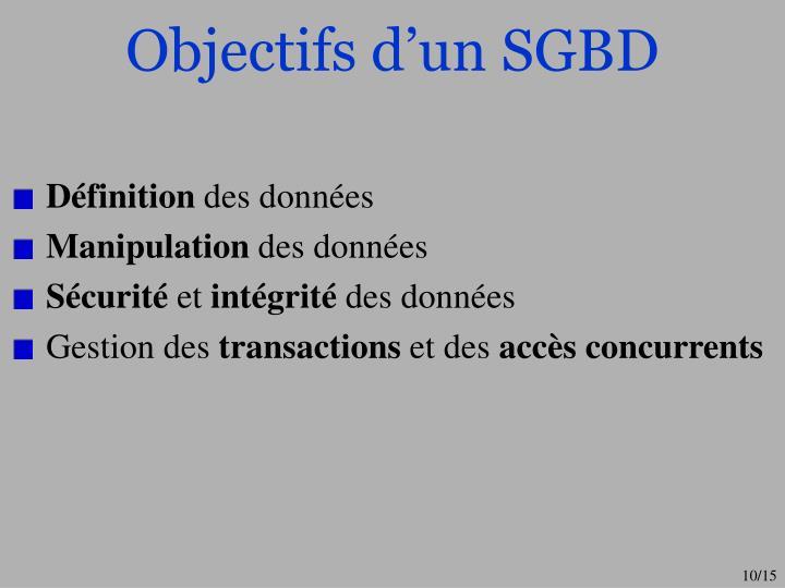 Objectifs d'un SGBD