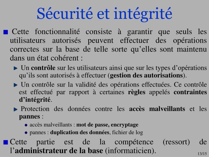Sécurité et intégrité