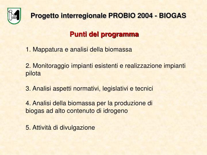 Progetto interregionale PROBIO 2004 - BIOGAS