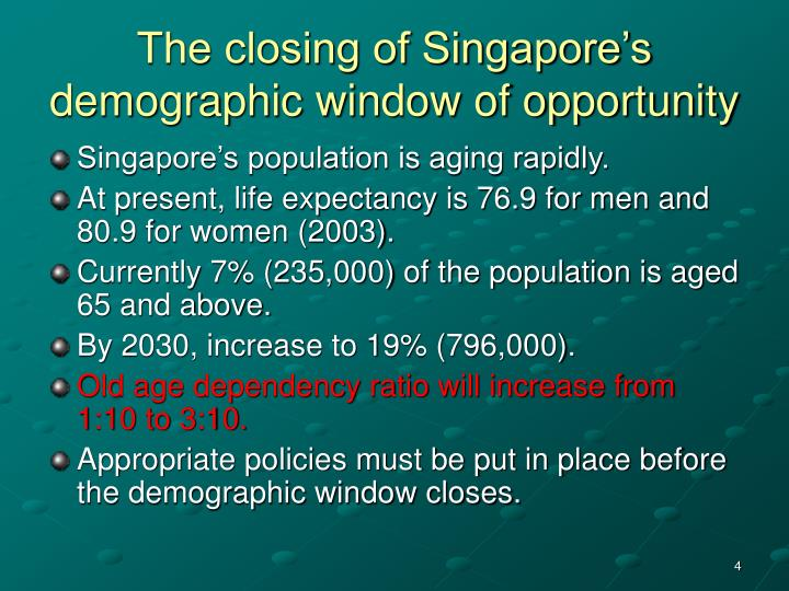 Ppt singapore s changing age structure issues and for Window of opportunity