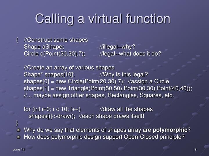 Calling a virtual function