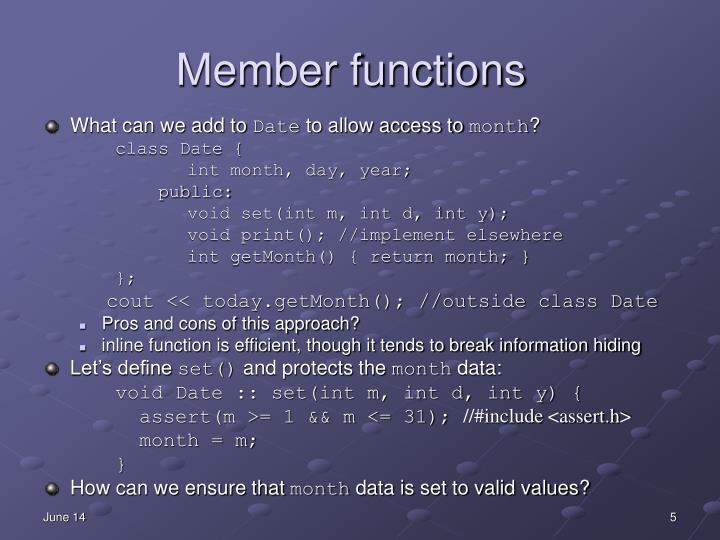 Member functions