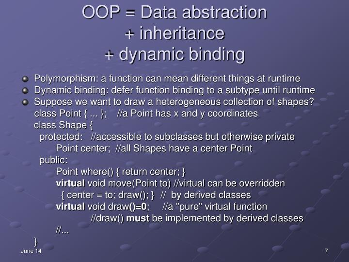 OOP = Data abstraction