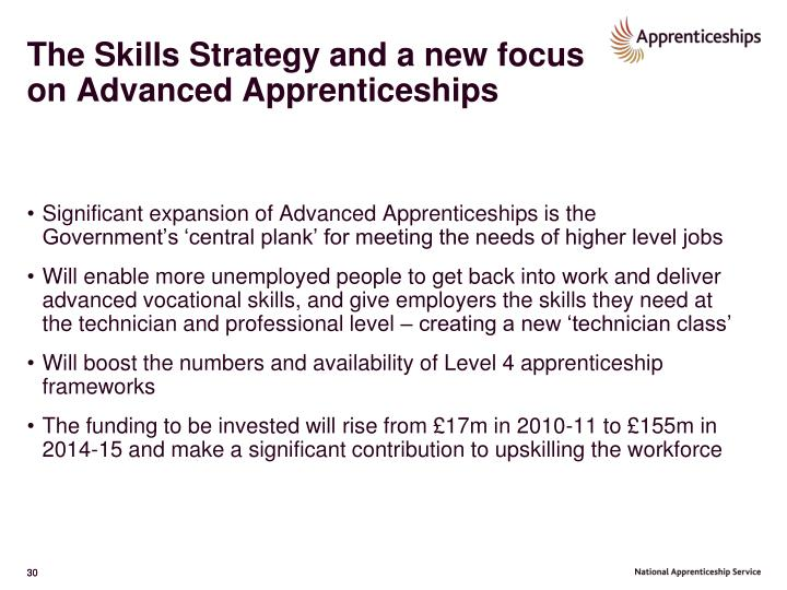 The Skills Strategy and a new focus on Advanced Apprenticeships