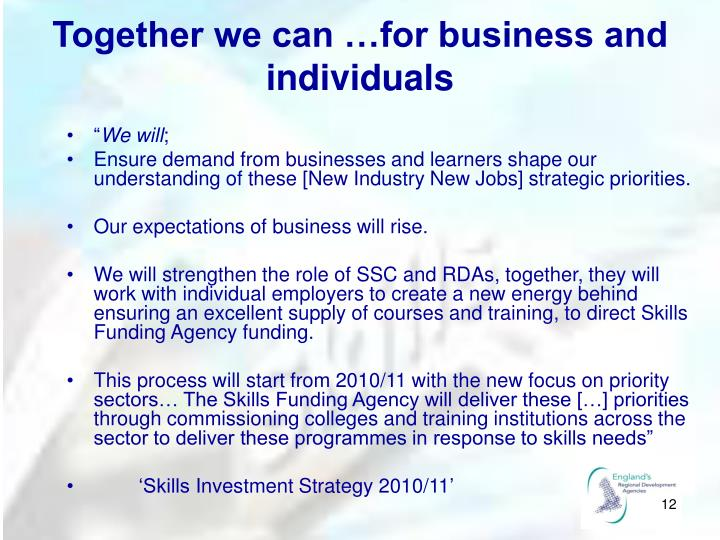 Together we can …for business and individuals