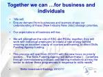 together we can for business and individuals