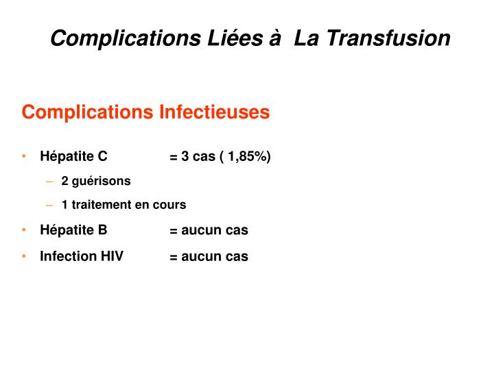 Complications Liées à  La Transfusion