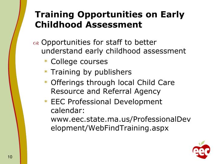 Training Opportunities on Early Childhood Assessment