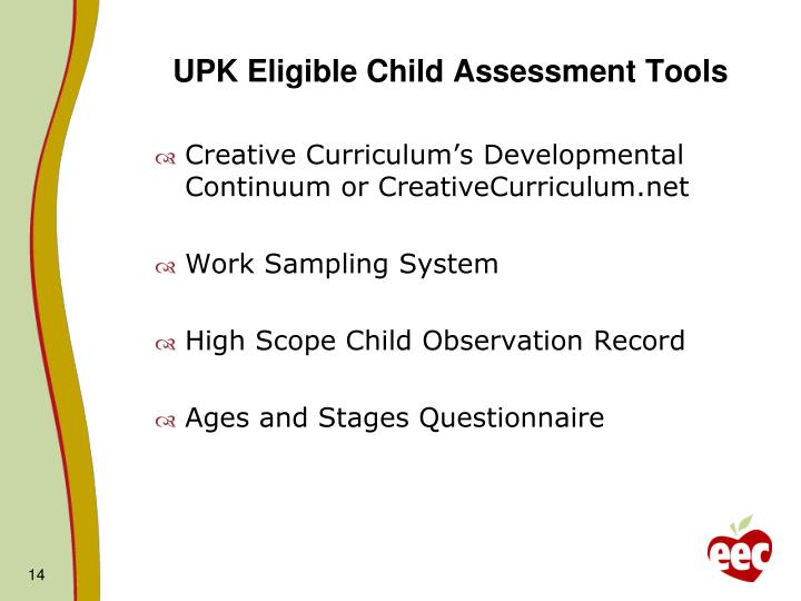UPK Eligible Child Assessment Tools