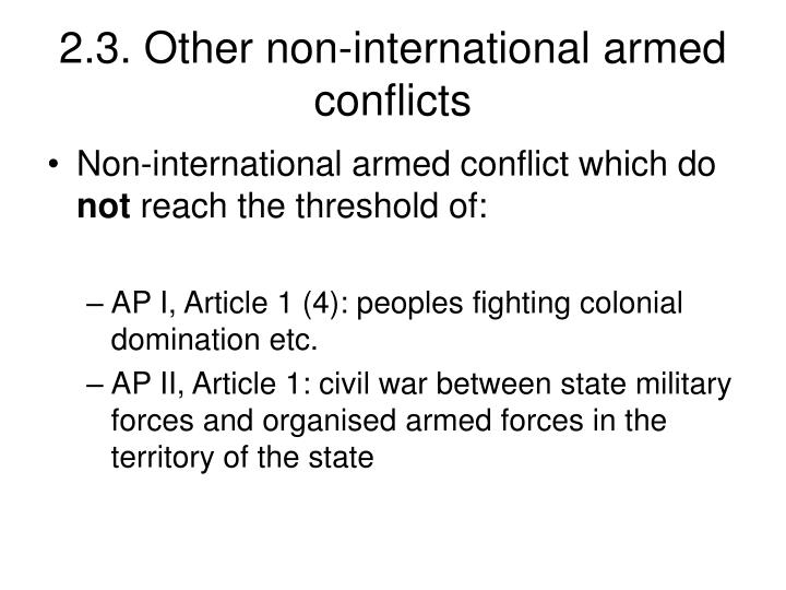 2.3. Other non-international armed conflicts