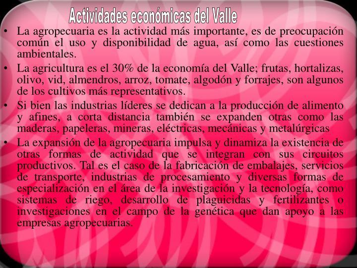 Actividades económicas del Valle