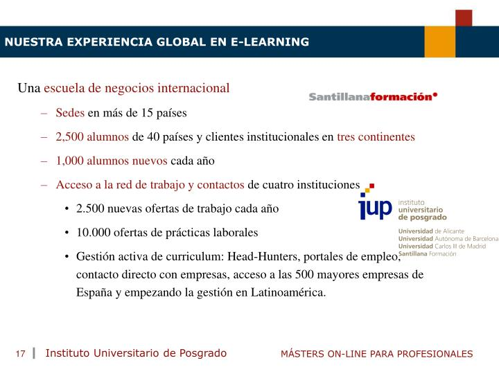 NUESTRA EXPERIENCIA GLOBAL EN E-LEARNING