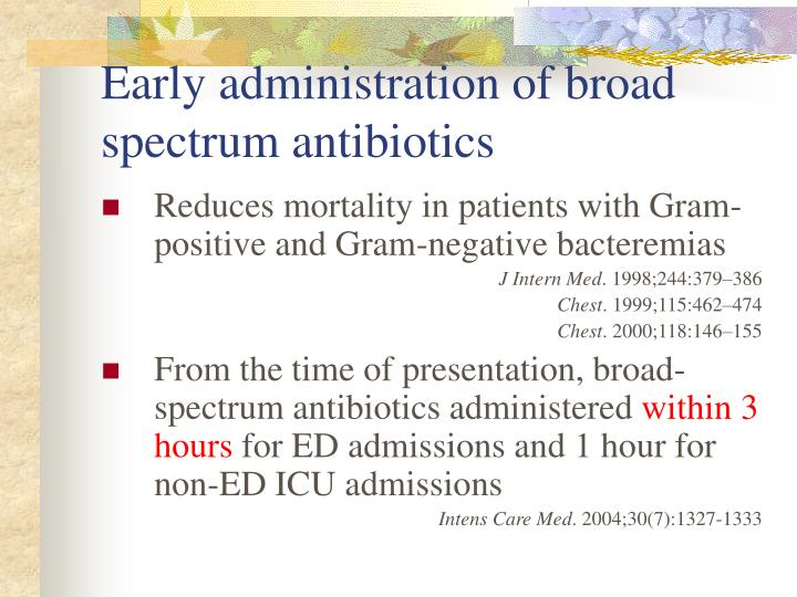 Early administration of broad spectrum antibiotics