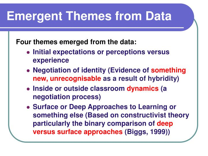 Emergent Themes from Data