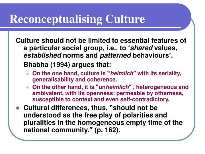 Reconceptualising Culture