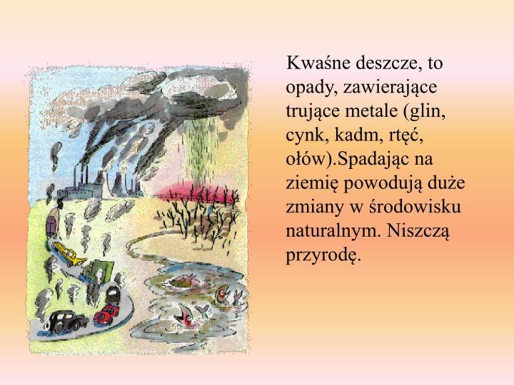 Kwaśne deszcze, to opady, zawierające trujące metale (glin, cynk, kadm, rtęć, ołów).Spadając na ziemię powodują duże zmiany w środowisku naturalnym. Niszczą przyrodę.