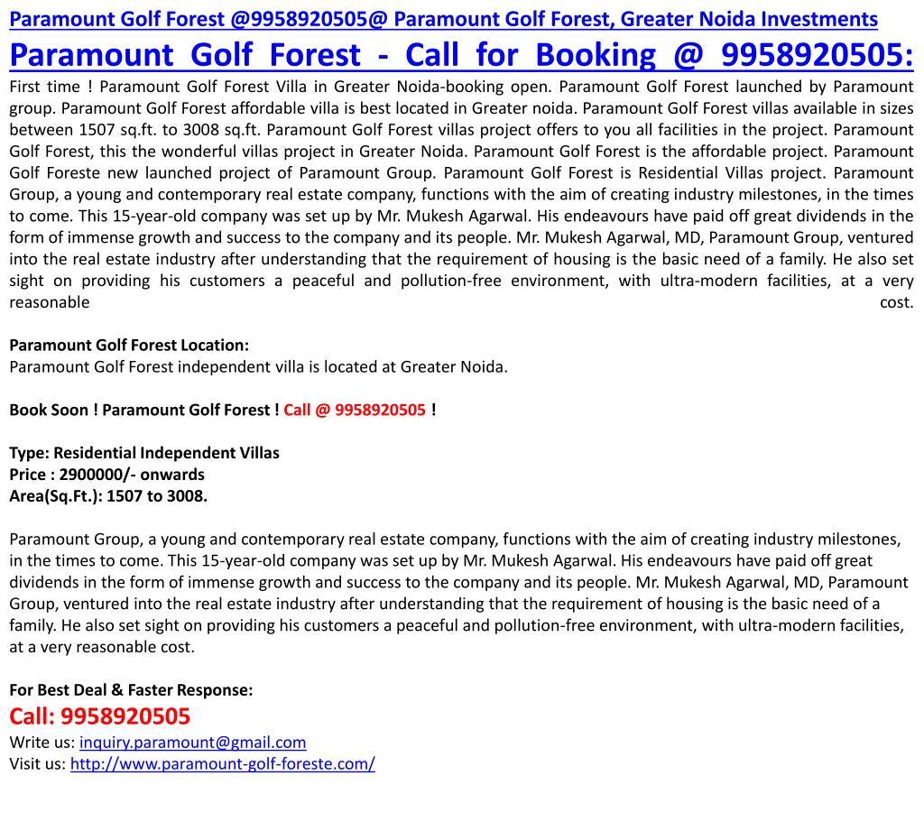 Paramount Golf Forest @9958920505@ Paramount Golf Forest, Greater Noida Investments