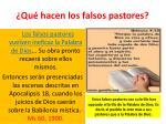qu hacen los falsos pastores