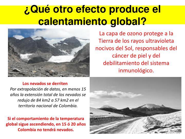 ¿Qué otro efecto produce el calentamiento global?