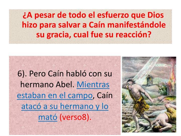 ¿A pesar de todo el esfuerzo que Dios hizo para salvar a Caín manifestándole su gracia, cual fue su reacción?