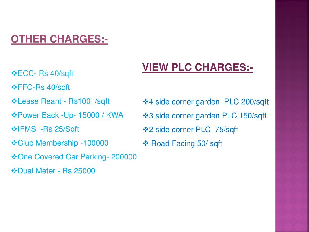 OTHER CHARGES:-