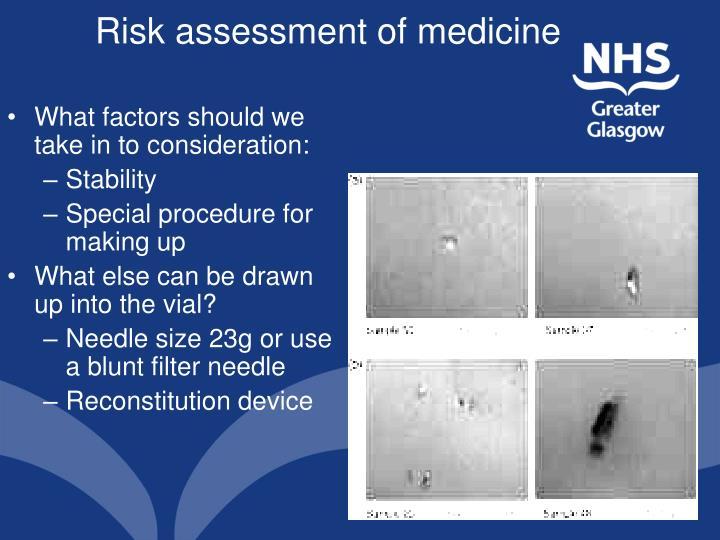 Risk assessment of medicine