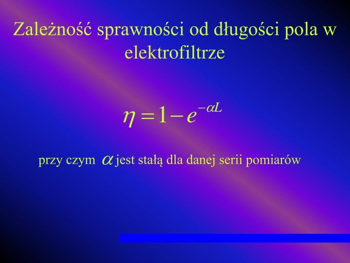 Zależność sprawności od długości pola w elektrofiltrze