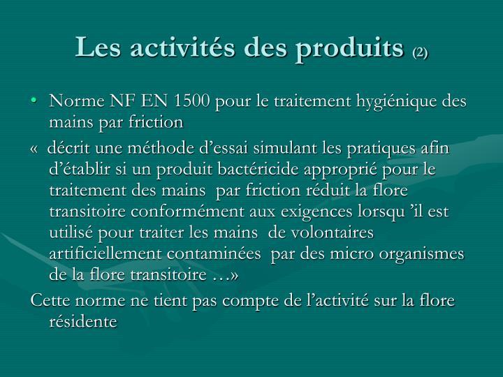 Les activités des produits