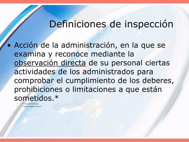 Definiciones de inspección
