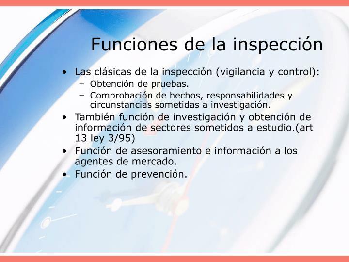 Funciones de la inspección