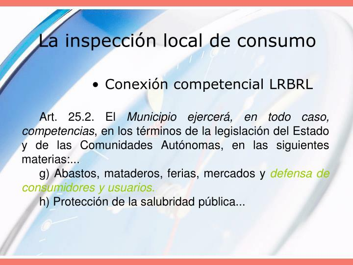 La inspección local de consumo