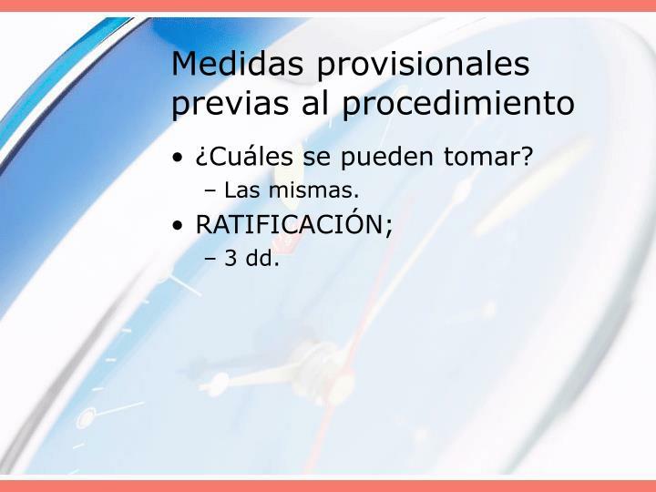 Medidas provisionales previas al procedimiento