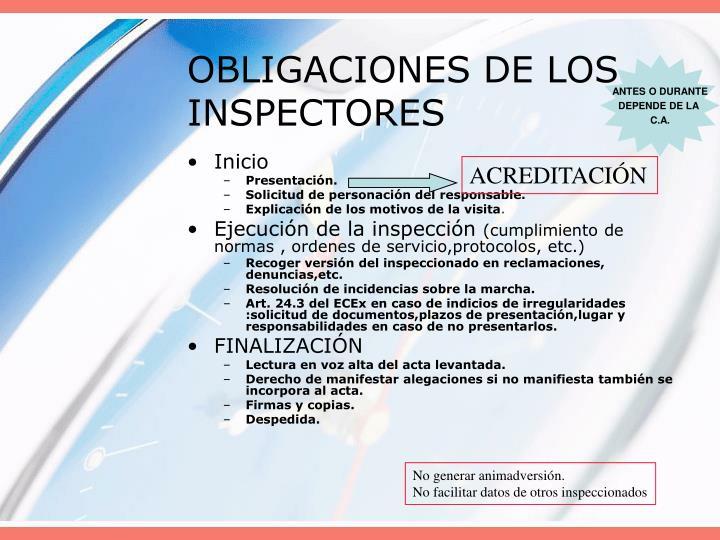 OBLIGACIONES DE LOS INSPECTORES