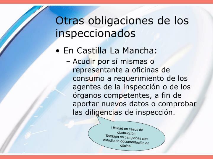 Otras obligaciones de los inspeccionados