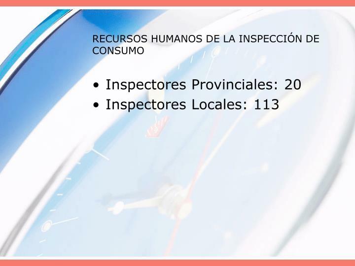 RECURSOS HUMANOS DE LA INSPECCIÓN DE CONSUMO