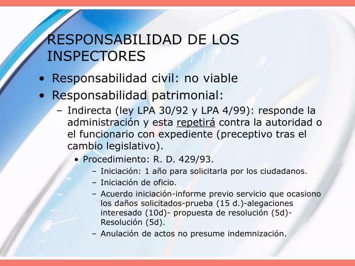 RESPONSABILIDAD DE LOS INSPECTORES