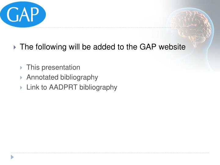 The following will be added to the GAP website