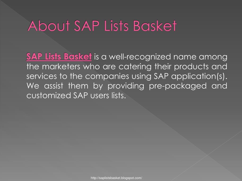 About SAP Lists Basket