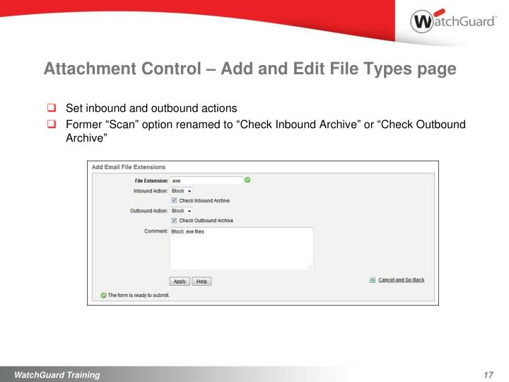 Attachment Control – Add and Edit File Types page